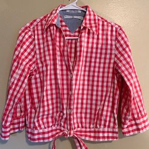 Tommy Hilfiger | Red Gingham Tie-Waist Blouse | 6
